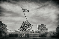 Iwo Jima Memorial - Marine Corp Memorial Washington DC Black and White Photography Washington DC Art - - Framed Prints - Wall Murals - Metal Prints - Aluminum Prints - Canvas Prints - Fine Art Prints Washington DC Landmarks Monuments Architecture
