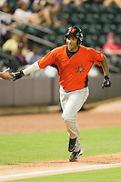 Garabez Rosa #45 of the Frederick Keys rounds the bases after hitting a home run against the Winston-Salem Dash at BB&T Ballpark on May 29, 2012 in Winston-Salem, North Carolina.  The Dash defeated the Keys 8-7.  (Brian Westerholt/Four Seam Images)