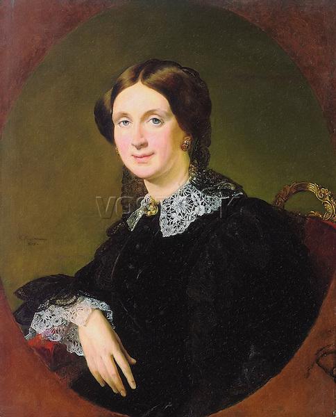 Portrait of N.P.Panina, 1855. Artist: Tropinin, Vasili Andreyevich (1776- 1857) / Портрет Натальи Павловны Паниной, 1855. Художник Василий Андреевич Тропинин (1776–1857).
