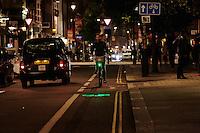Blaze light on Santander Boris Bike. London.   September 2015