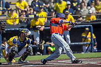 Illinois Fighting Illini outfielder Dan Rowbottom (19) swings the bat against the Michigan Wolverines during the NCAA baseball game on April 8, 2017 at Ray Fisher Stadium in Ann Arbor, Michigan. Michigan defeated Illinois 7-0. (Andrew Woolley/Four Seam Images)