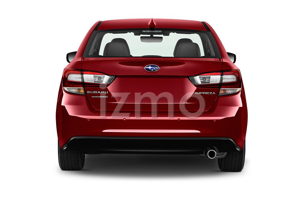 Straight rear view of 2021 Subaru Impreza Limited 4 Door Sedan Rear View  stock images