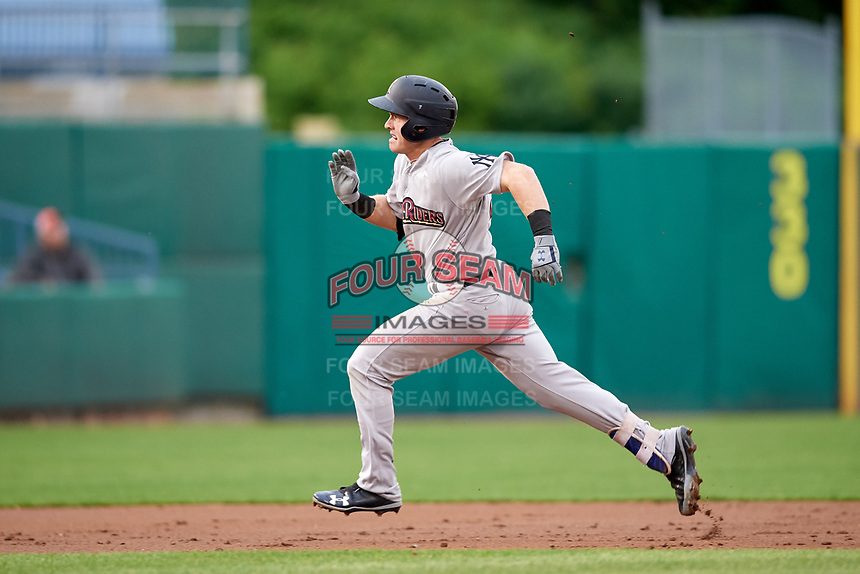 Scranton/Wilkes-Barre RailRiders center fielder Billy McKinney (39) runs the bases after hitting a triple during a game against the Syracuse Chiefs on June 14, 2018 at NBT Bank Stadium in Syracuse, New York.  Scranton/Wilkes-Barre defeated Syracuse 9-5.  (Mike Janes/Four Seam Images)
