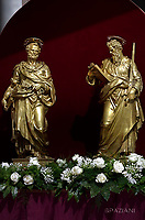 Statue  of St Peter and Paul.Pope Francis Solemnity of St Peter and Paul in St.Peter's square at the Vatican.June 29, 2017.