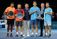Rohan Bopanna (IND) / Florin Mergea (ROM) and Jean-Julien Rojer / Horia Tecau (ROM) with ATP President Chris Kermode pose with Runner's Up and Winner's trophies during Day Eight of the Barclays ATP World Tour Finals 2015 played at The O2, London on November 22nd 2015