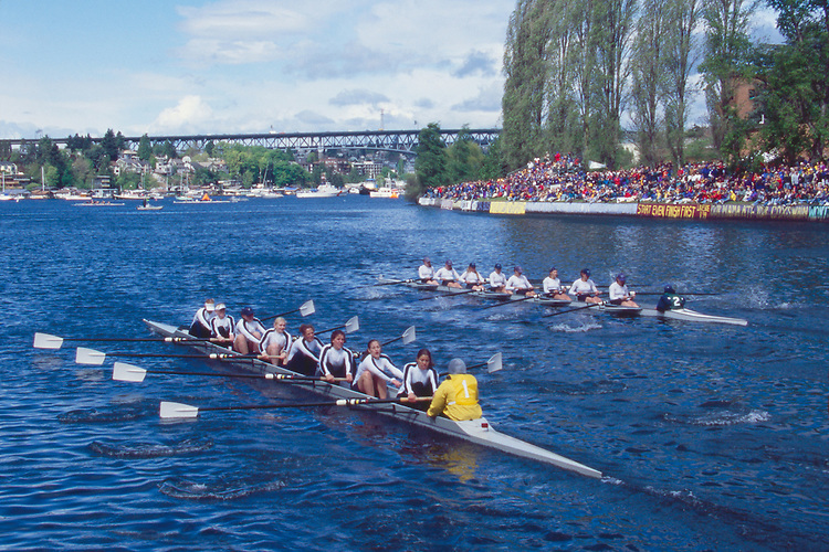 Rowers, Seattle, Windermere Cup Regatta, University of Washington women's eight trailing, Lake Washington Ship Canal, Opening day of the competitive rowing season, 1999.