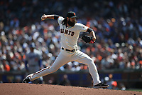SAN FRANCISCO, CA - APRIL 8:  Cory Gearrin #26 of the San Francisco Giants pitches against the Los Angeles Dodgers during the game at AT&T Park on Sunday, April 8, 2018 in San Francisco, California. (Photo by Brad Mangin)