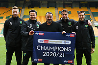 1st May 2021; Carrow Road, Norwich, Norfolk, England, English Football League Championship Football, Norwich versus Reading; Norwich City Manager Daniel Farke and backroom staff celebrate winning the EFL Championship