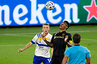 LOS ANGELES, CA - SEPTEMBER 02: Mark-Anthony Kaye #14 of the Los Angeles Football Club traps a ball during a game between San Jose Earthquakes and Los Angeles FC at Banc of California stadium on September 02, 2020 in Los Angeles, California.