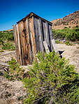 Weathered wooden outhouse, ghost town of Beowawe, Nevada