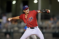 Harrisburg Senators relief pitcher James Bourque (44) delivers a pitch during a game against the Akron RubberDucks on August 18, 2018 at FNB Field in Harrisburg, Pennsylvania.  Akron defeated Harrisburg 5-1.  (Mike Janes/Four Seam Images)
