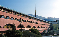 F.L. Wright: Marin Civic Center, 1957-1972. View of North Wing.  Photo '83.