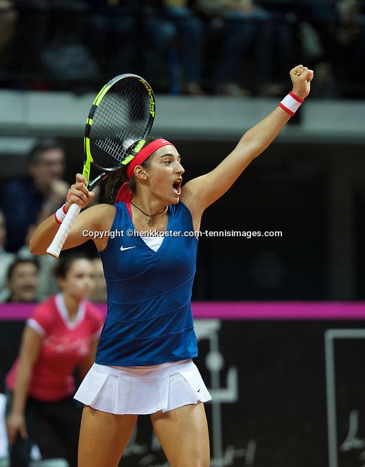 Arena Loire,  Trélazé,  France, 16 April, 2016, Semifinal FedCup, France-Netherlands, Caroline Garcia (FRA) wins and equals the score 2-2<br /> Photo: Henk Koster/Tennisimages