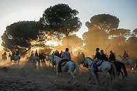 Horsemen run with bulls during the running of the bulls in Tordesillas, on September 15, 2009. The festival is one of the oldest in Spain with roots dating back to the fifteenth century. The bull has to be enticed across the river from the village to the plain 'Vega' before it can be killed to honour the 'Virgen de la Pena'.   © Pedro ARMESTRE.