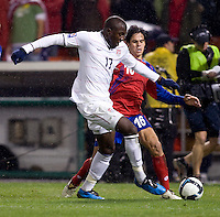 Jozy Altidore, Cristian Montero. The USMNT tied Costa Rica, 2-2, during the FIFA World Cup Qualifier at  RFK Stadium, in Washington, DC.   With the result, the USMNT qualified for the 2010 FIFA World Cup Finals in South Africa.