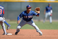 Texas Rangers shortstop Isiah Kiner-Falefa (5) during an Instructional League game against the Cleveland Indians on October 4, 2013 at Surprise Stadium Training Complex in Surprise, Arizona.  (Mike Janes/Four Seam Images)