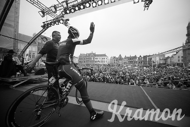 Fabian Cancellara (CHE/TrekFactoryRacing) greeting the crowd on the start podium in Bruges. Belgians adore him.<br /> <br /> Ronde van Vlaanderen 2014