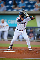 Pensacola Blue Wahoos Luis Arraez (1) during a Southern League game against the Biloxi Shuckers on May 3, 2019 at Admiral Fetterman Field in Pensacola, Florida.  Pensacola defeated Biloxi 10-8.  (Mike Janes/Four Seam Images)