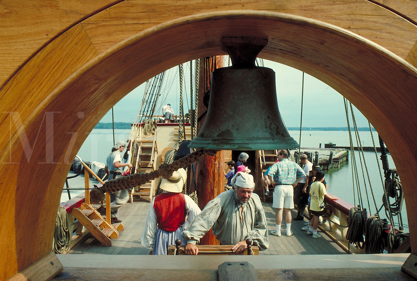 """tourists on board the """"""""Susan Constant"""""""" with attendees in period dress at Jamestown Settlement historic site. tourists. Jamestown Virginia USA."""