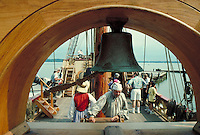 "tourists on board the """"Susan Constant"""" with attendees in period dress at Jamestown Settlement historic site. tourists. Jamestown Virginia USA."
