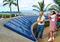 The Arizona Memorial Visitor Center on Pearl Harbor educates visitors about the Historical significance of the Japanese attack on Pearl Harbor, Dec 7, 1941.
