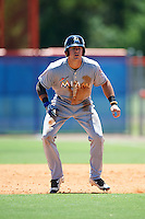 GCL Marlins first baseman Colby Lusignan (45) leads off second during a game against the GCL Mets on August 12, 2016 at St. Lucie Sports Complex in St. Lucie, Florida.  GCL Marlins defeated GCL Mets 8-1.  (Mike Janes/Four Seam Images)