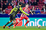 Kevin Gameiro of Atletico de Madrid (R) fights for the ball with Bryan Ruiz of Sporting CP (L) during the UEFA Europa League quarter final leg one match between Atletico Madrid and Sporting CP at Wanda Metropolitano on April 5, 2018 in Madrid, Spain. Photo by Diego Souto / Power Sport Images