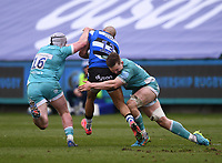 20th March 2021; Recreation Ground, Bath, Somerset, England; English Premiership Rugby, Bath versus Worcester Warriors; Ted Hill and Niall Annett of Worcester Warriors tackles Jonathan Joseph of Bath
