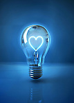 Illustrative image of heart shaped filament in light bulb representing love over blue background