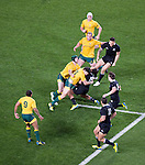 Israel Dagg is tackled. All Blacks beat Australia 22-0. Eden Park, Auckland. 25 August 2012. Photo: Marc Weakley