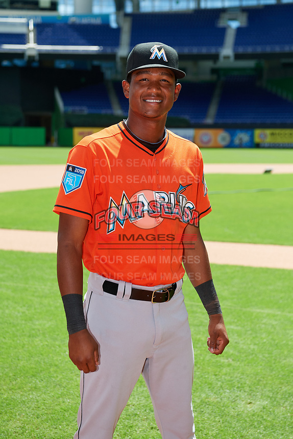 Miami Marlins Brayan Hernandez (23) poses for a photo before a Florida Instructional League game against the Washington Nationals on September 26, 2018 at the Marlins Park in Miami, Florida.  (Mike Janes/Four Seam Images)