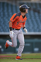 AZL Giants Orange Hunter Bishop (14) runs to first base during an Arizona League game against the AZL Cubs 1 on July 10, 2019 at Sloan Park in Mesa, Arizona. The AZL Giants Orange defeated the AZL Cubs 1 13-8. (Zachary Lucy/Four Seam Images)