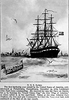 U.S.S. Alfred.  The first battleship ever owned by the United States of America, commissioned at Philadelphia, Pennsylvania, December 23, 1775, Lieutenant John Paul Jones commanding.  Copy of artwork by Harry W. Carpenter, 1920. (Bureau of Ships)<br /> NARA FILE #:  019-N-9977-A<br /> WAR & CONFLICT #:  43
