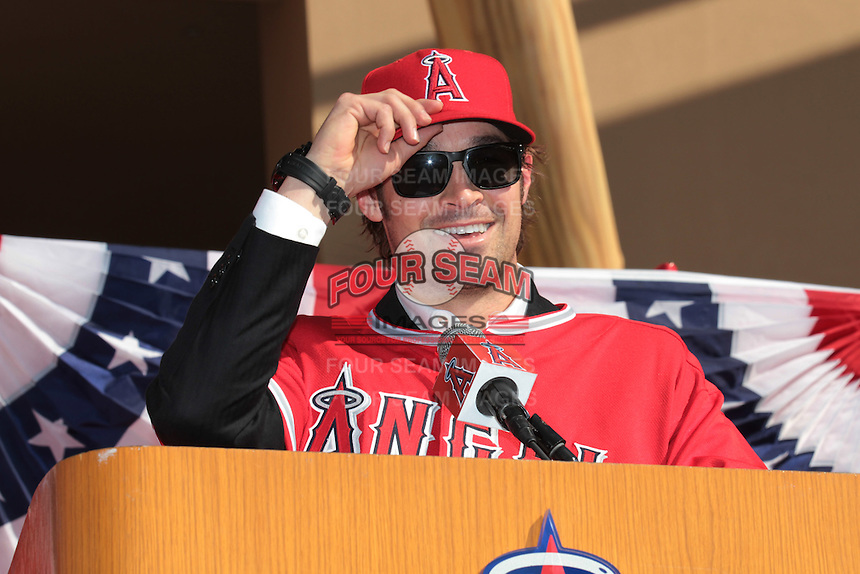 C.J. Wilson (33) of the Los Angeles Angels at press conference introducing Wilson as a new member of the Angels at Angel Stadium on December 10, 2011 in Anaheim,California.(Larry Goren/Four Seam Images)