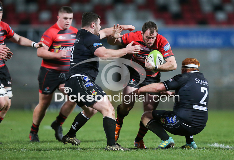 Friday 8th February 2019 | First Trust Ulster Senior Cup Final<br /> <br /> Andrew Willis is tackled by Christopher Cundell and Andrew Ferguson during the First Trust Ulster Senior Cup Final between Armagh and Ballymena at Kingspan Stadium, Ravenhill Park, Belfast, Northern Ireland. Photo by John Dickson / DICKSONDIGITAL