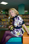 """Welsh musician Cerys Matthews (Ex Catatonia) inside Swansea Central Library today, to help publicise the """"Happy Days"""" campaign which demonstrates how libraries can make you happy. .The campaign is running all over Wales.."""