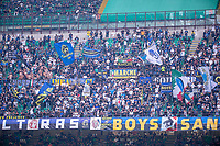 Milan, Italy - september 25 2021 - Serie A match F.C. Internazionale - Atalanta BC San Siro stadium - f.c. inter supporters waving their flags during the match