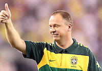 Mano Menezes, coach of Brazil during an international friendly match against the USA in Giants Stadium, on August 10 2010, in East Rutherford, New Jersey.Brazil won 2-0.