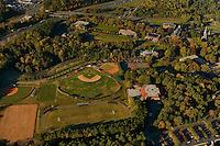 Aerial view of Belmont Abbey College, located 10 miles west of Charlotte, NC. Founded in 1876, the College is home to more than 1,200 students from 29 states and 24 countries. The campus is situated on the 650-acre picturesque monastic property of Belmont Abbey.
