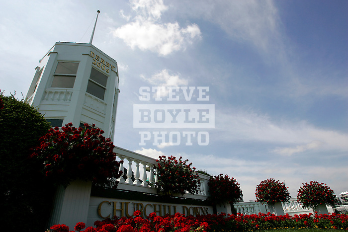 A view of the winners circle at Churchill Downs in Louisville, Kentucky on May 6, 2006.  Barbaro, ridden by Edgar Prado, won the 132nd Kentucky Derby in the tenth race of the day....