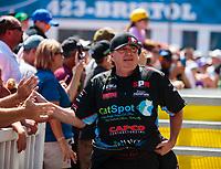 Jun 17, 2018; Bristol, TN, USA; NHRA top fuel driver Scott Palmer during the Thunder Valley Nationals at Bristol Dragway. Mandatory Credit: Mark J. Rebilas-USA TODAY Sports