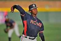 Designated hitter Ronald Acuna (24) of the Rome Braves warms up before a game against the Greenville Drive on Tuesday, August 30, 2016, at Fluor Field at the West End in Greenville, South Carolina. Greenville won, 7-3. (Tom Priddy/Four Seam Images)