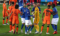 Football: Uefa Nations League Group A match Italy vs Netherlands at Gewiss stadium in Bergamo, on October 14, 2020.<br /> Italy's players greet Netherlands' players at the end of the Uefa Nations League match between Italy and Netherlands  (1-1) at Gewiss  stadium in Bergamo, on October 14, 2020. <br /> UPDATE IMAGES PRESS/Isabella Bonotto
