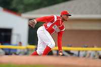 Batavia Muckdogs infielder Felix Munoz (27) flips the ball to the pitcher covering first during a game against the Jamestown Jammers on June 27, 2013 at Dwyer Stadium in Batavia, New York.  The game was postponed during the fourth inning due to rain.  (Mike Janes/Four Seam Images)
