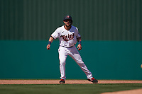 Minnesota Twins Zander Wiel (71) leads off second base during a Major League Spring Training game against the Pittsburgh Pirates on March 16, 2021 at Hammond Stadium in Fort Myers, Florida.  (Mike Janes/Four Seam Images)