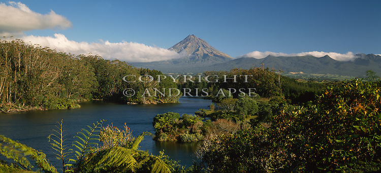 Lake Mangamahoe with Mount Taranaki (Egmont) in background. Taranaki Region New Zealand.