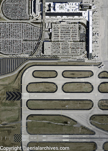 aerial photograph of a full parking lot near the runways of Hartsfield Jackson Atlanta International airport (ATL), Georgia