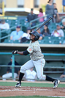Ayendy Perez (3) of the Inland Empire 66ers bats against the Lancaster JetHawks at The Hanger on September 3, 2016 in Lancaster, California. Lancaster defeated Inland Empire, 7-6. (Larry Goren/Four Seam Images)