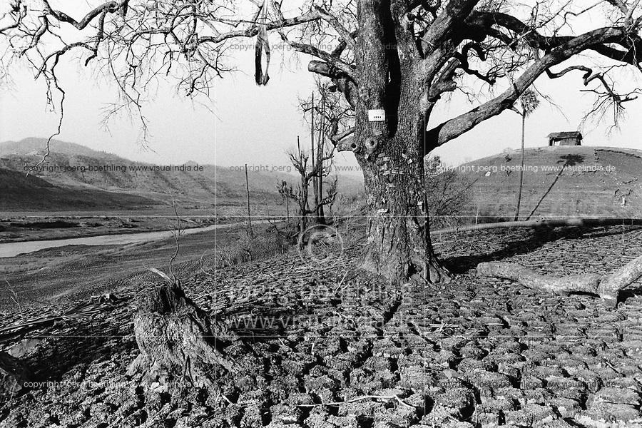 India, Narmada River, Narmada dams and protest movement of NBA Narmada Bachao Andolan, movement to save the Narmada river, and affected Adivasi in their villages, village Manibeli in February 1994, tree with name plates of villages which will be displaced