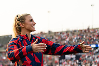 EAST HARTFORD, CT - JULY 5: Julie Ertz #8 of the United States salutes the fans after a game between Mexico and USWNT at Rentschler Field on July 5, 2021 in East Hartford, Connecticut.